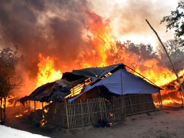 A gutted hut near Jawahar Bagh in Mathura on Friday, a day after police-encrachers clash.