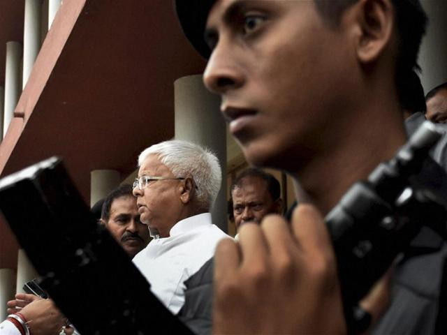 RJD Chief Lalu Prasad Yadav appearing in CBI court in connection with a case of multi-crore fodder scam in Patna.