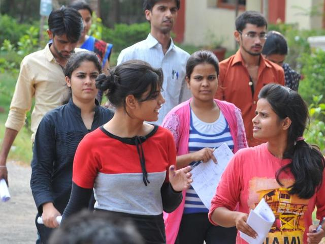 Candidates come out of the examination hall after MPPSC preliminary papers in Indore on Tuesday.