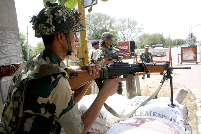 BSF force deployed at nine entry points in Rohtak in view of the upcoming jat agitation from June 5.