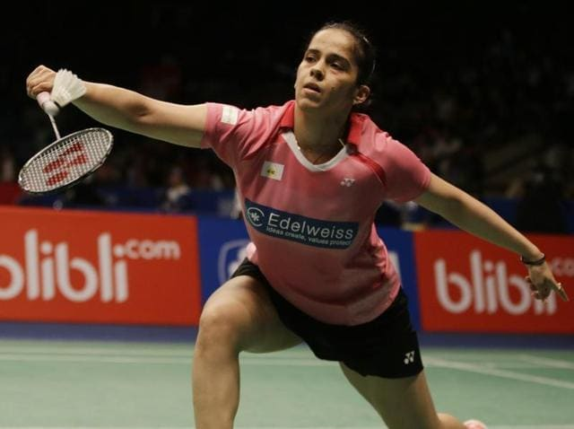 Saina Nehwal plays against Spain's Carolina Marin during the quarterfinals women's single match at the Indonesia Open badminton tournament at Istora stadium in Jakarta, Indonesia.
