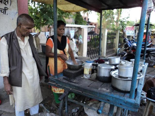 Shashi Stela at her roadside eatery on a square near Jabalpur railway station on Wednesday.