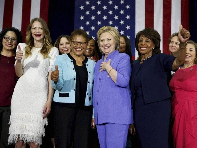 Democratic presidential candidate Hillary Clinton attends a Women for Hillary event at West Los Angeles College in Culver City, California, on Friday.