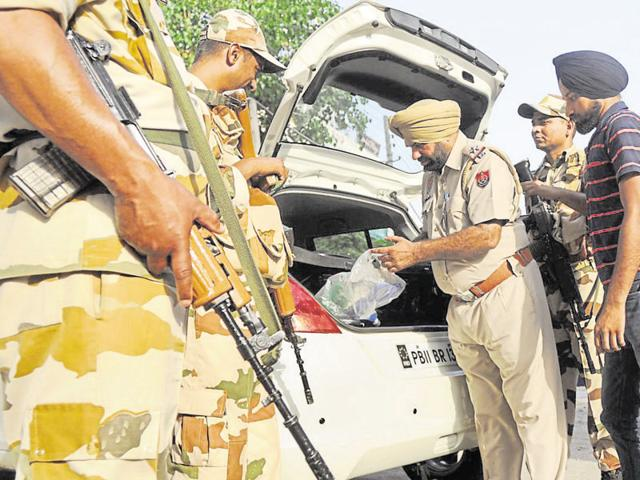 Ahead of the 32nd anniversary of Operation Bluestar, Punjab Police and paramilitary forces keep vigil in Patiala.