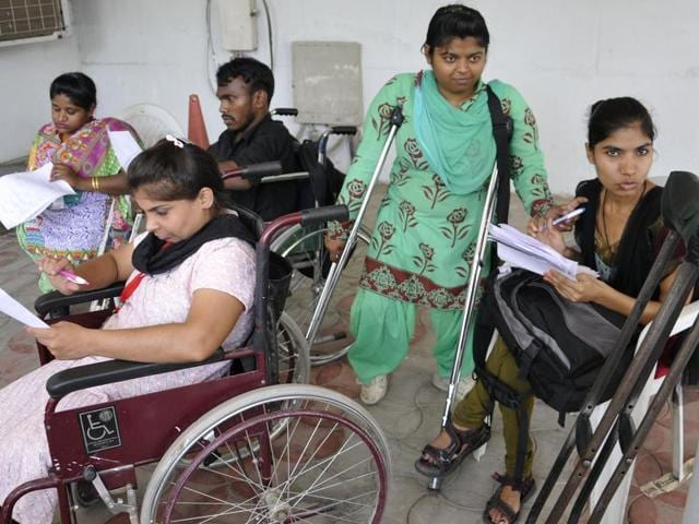 The disabled getting ready for interviews at NITTR, Sector 26, in Chandigarh.