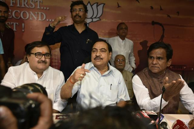 Eknath Khadse addresses a press conference at the BJP office in Mumbai on Saturday.