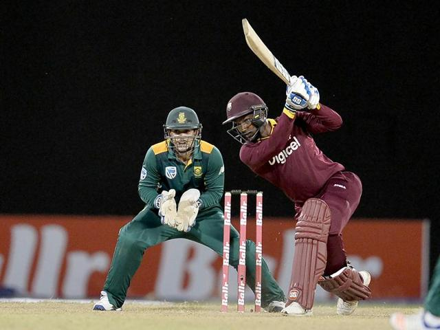 West Indie's Denesh Ramdin plays a shot during the One-day International (ODI) cricket match between the West Indies and South Africa in the tri-nation series in Georgetown, Guyana.