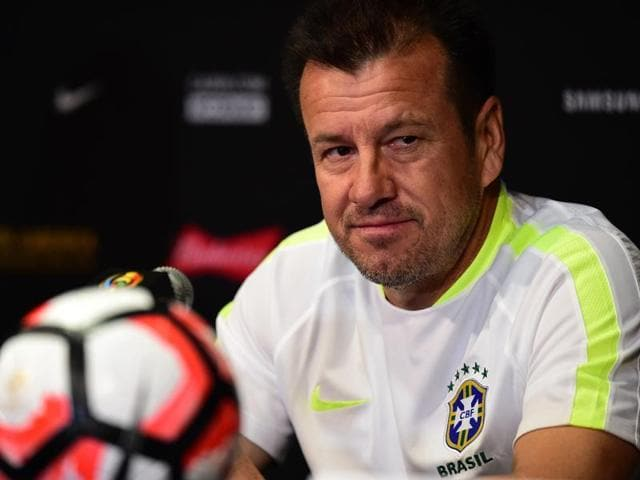 Brazil coach Dunga takes questions during a press conference at the Rose Bowl in Pasadena, California.