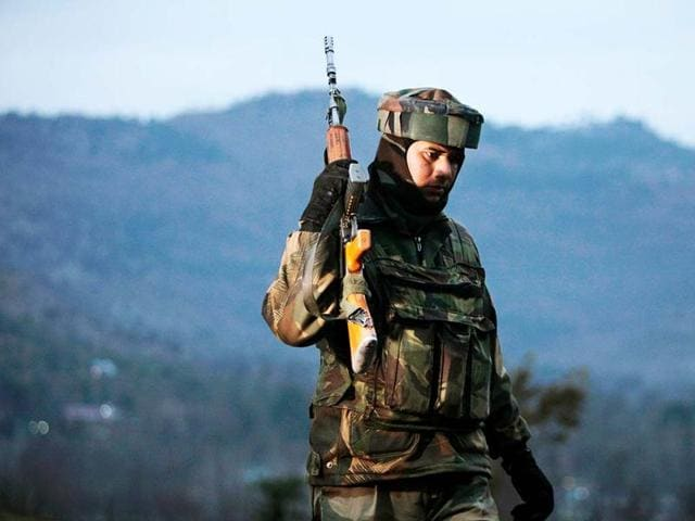 File photo of Indian Army soldiers as they patrol near the Line of Control, after a reported cease-fire violation, in Mendhar, Poonch district. (AP Photo)