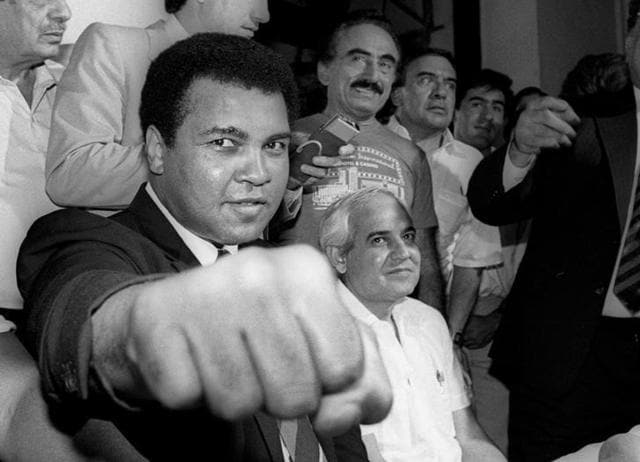 Muhammad Ali (R) (formerly Cassius Clay), is seen here with his trainer Angelo Dundee ahead of his fight with Ernie Terrell at the Astrodome, Houston, Texas, U.S.Feburary 6, 1967.