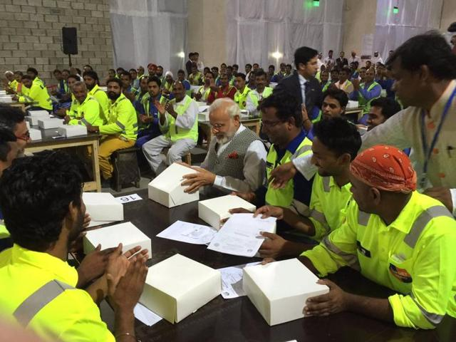 PM Modi interacted with Indian workers in Qatar on Saturday, June 4, 2016, during his two-day visit to the  Gulf nation.