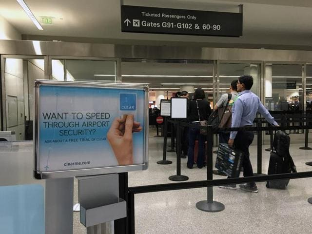 A station for CLEAR, a service where users can jump to the front of airport security lines after verifying their identity with a fingerprint or iris scan, is pictured at San Francisco International Airport.