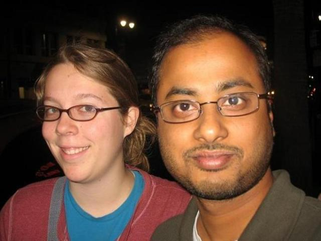This undated photo shows Ashley Hasti (left), partner of Mainak Sarkar who police say carried out a murder-suicide at the University of California, Los Angeles on Wednesday.