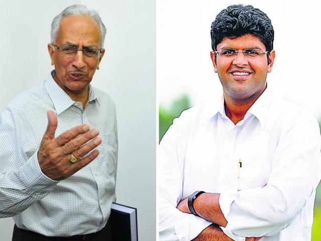 Prakash Singh (left), Dushyant Chautala (right)