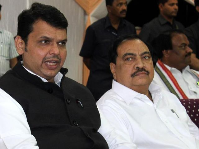Maharashtra chief minister Devendra Fadnavis with Eknath Khadse in Nagpur.