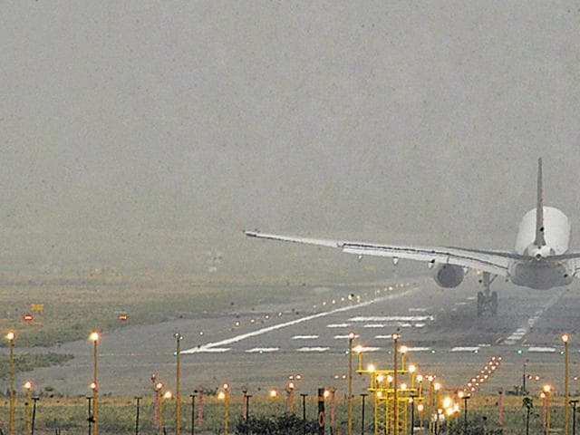 A long crack appeared on the Indore airport runway on Wednesday, a month after a similar fault disrupted flights.