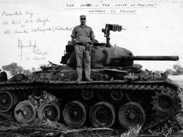 The lion and his kill... Brigadier JS Gharaya pictured on top of a Chaffee tank of Pakistani 3 (Independent) Armoured Squadron captured by 45 Cavalry and 14 Punjab in the Battle of Garibpur in November 1971.