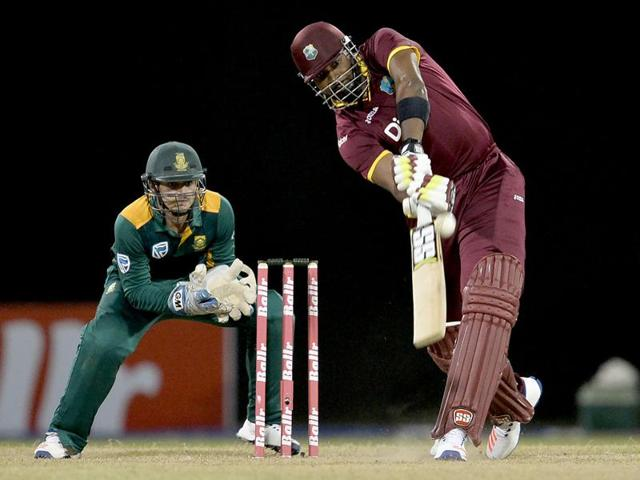 West Indie's Kieron Pollard plays a shot during the One-day International (ODI) cricket match.