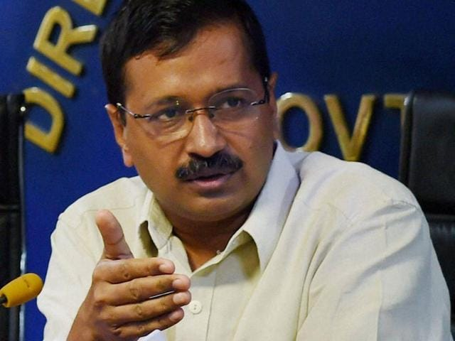 Delhi chief minister Arvind Kejriwal interacts with journalists during a press conference in Delhi.