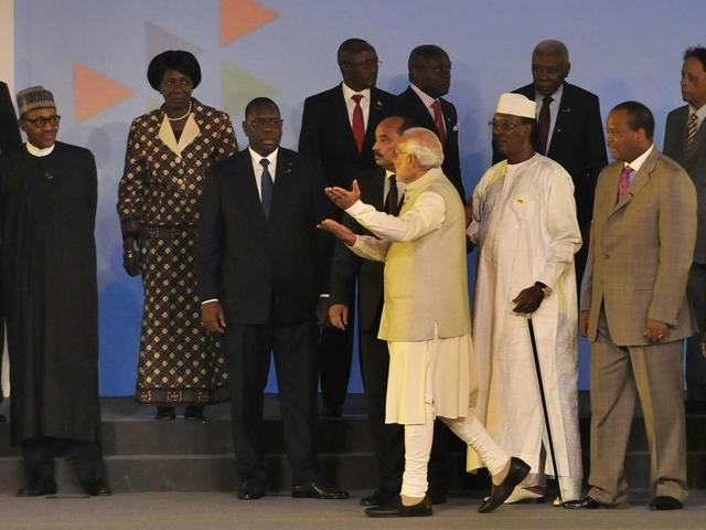 Prime Minister Narendra Modi with African heads of state and leaders during the India-Africa Forum Summit in New Delhi in October last year.