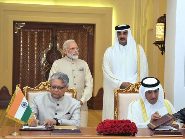 Doha: Prime Minister Narendra Modi and Emir of Qatar Sheikh Tamim bin Hamad Al-Thani with signing of agreements at a ceremony at Emiri Diwan in Doha, Qatar on Sunday, June 5, 2016.