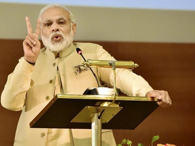 Prime Minister Narendra Modi addressing the Indian Community in Doha, Qatar on Sunday.