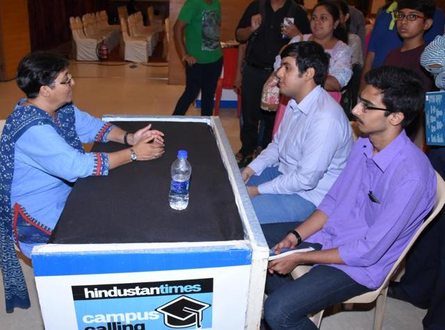Students and parents at the eighth session of Hindustan Times Campus Calling 2016 on Sunday.