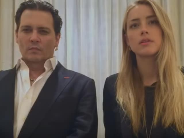 Johnny Depp and Amber Heard in the infamous apology video.