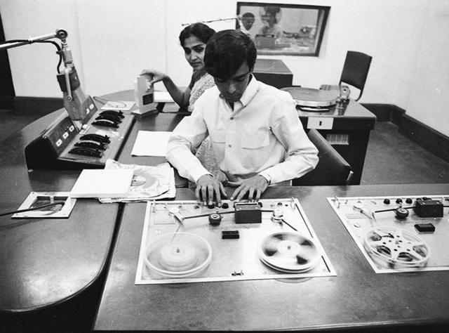 All India Radio's English newsreader, Lotika Ratnam, December 11, 1969.