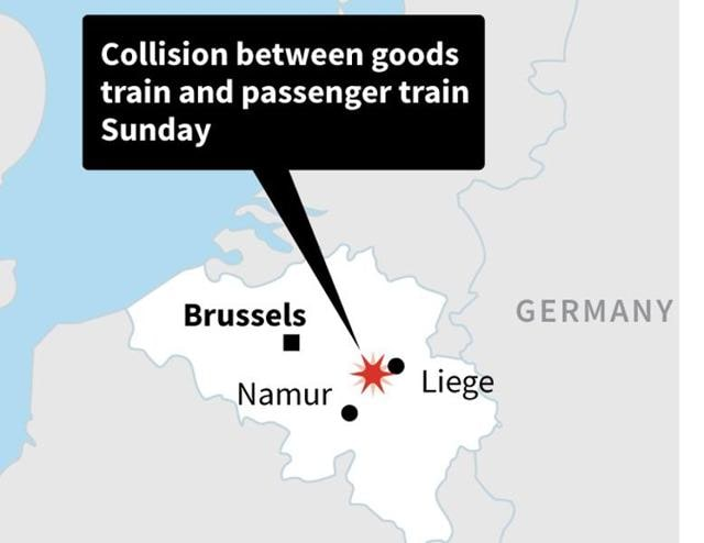 Map locating a train crash in Belgium that has left at least three people killed.
