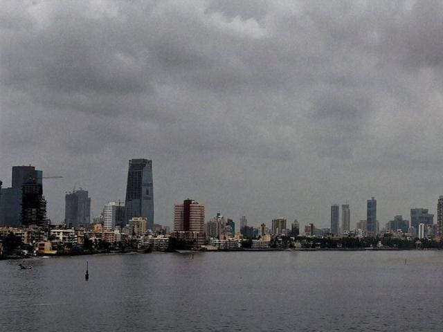 Clouds are seen on the skyline of Mumbai on Monday.