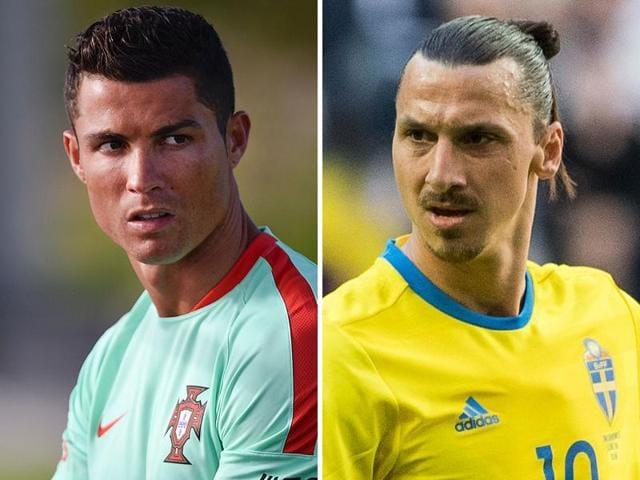 Combination photo of Cristiano Ronaldo and Zlatan Ibrahimovic