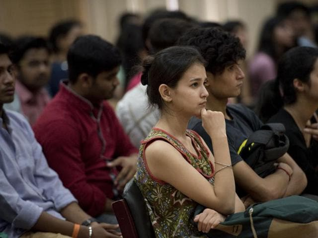 Delhi University's Open Days are in progress at the North Campus where students are being briefed about the online application process for admission into DU colleges in New Delhi  on June 4, 2016.