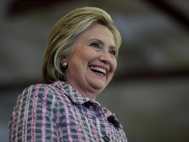 Democratic presidential candidate, former Secretary of State Hillary Clinton speaks during a campaign rally at Sacramento City College in Sacramento, California.