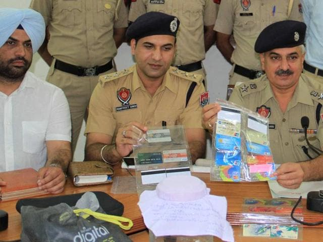 SSP Gurmeet Singh Chauhan addressing the media at Police Lines in Patiala on Sunday.
