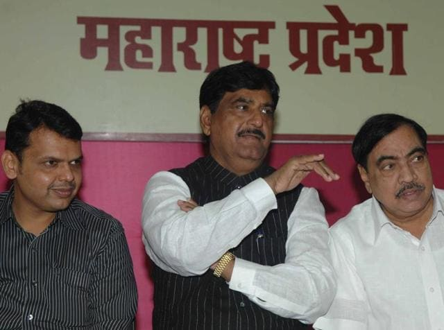 BJP Leaders Devendra Fadnavis, Gopinath Munde and Eknath Khadse