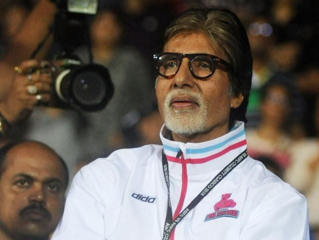 Amitabh Bachchan attends the Celebrity Clasico 2016 charity football match organized by the Virat Kohli Foundation and Playing For Humanity organization in Mumbai on June 4, 2016.