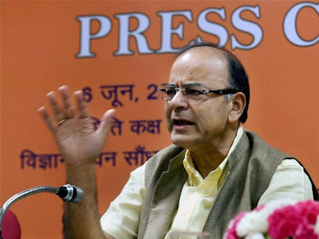 Union finance minister Arun Jaitley addresses the media after the quarterly performance review meeting of the chairman and managing directors of Public Sector Banks (PSB)  and financial institutions.