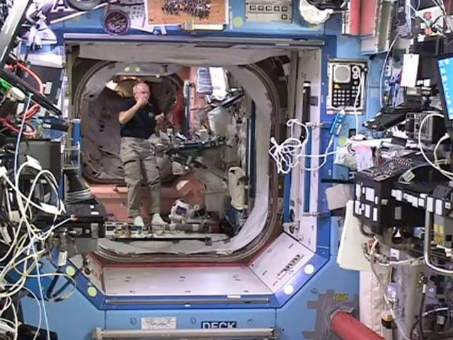 In this image provided by Nasa, astronaut Jeff Williams floats in front of the entrance to the Bigelow Expandable Activity Module (BEAM) Monday.
