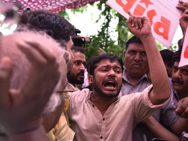 Kanhaiya Kumar, Jawaharlal Nehru University Students' Union president, participated in a protest by teachers organisations at the University Grants Commission  in New Delhi on Monday.