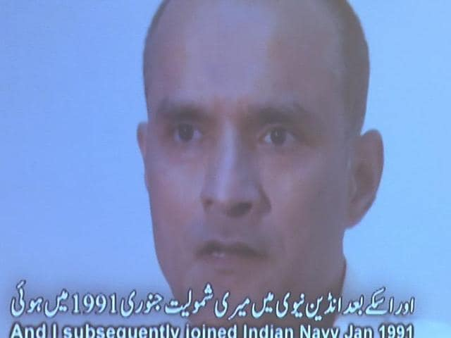 A projection of a video showing Kulbhushan Yadav