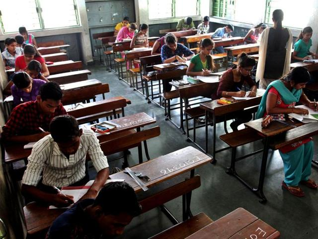 SSC students during first day of exam at Thane Centre Ghodbunder Road on March 01, 2016.