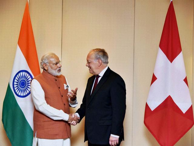 Prime Minister Narendra Modi meets Switzerland's President Johann Schneider-Ammann in Geneva, June 6, 2016. Switzerland is backing India's membership bid in the Nuclear Suppliers Group