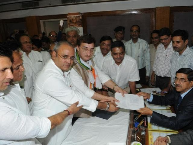 Vivek Tankha filing the nomination papers in Bhopal.