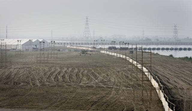 Structures being assembled for the Art of Living festival, along the Yamuna in New Delhi in March.