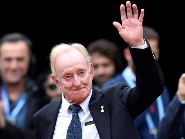 Former Australian tennis player Rod Laver arrives for a ceremony to induct former French tennis player Amelie Mauresmo into the International Tennis Hall of Fame at the Roland Garros 2016 French Tennis Open in Paris.