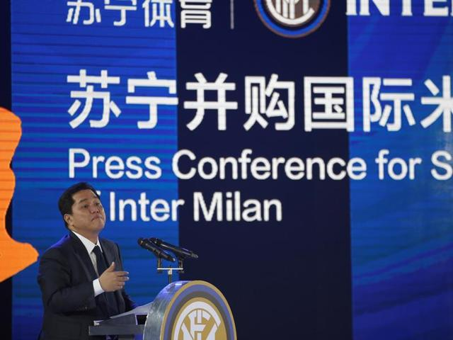 Inter Milan president Erick Thohir attends a news conference with Chinese retailer Suning and Italy's Inter Milan in Nanjing, Jiangsu Province, China.