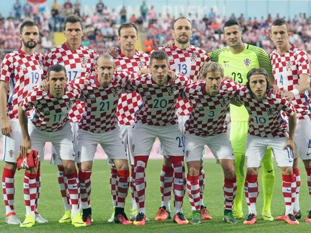 Croatian football team before the friendly football match between Croatia and San Marino in Rijeka, Croatia.