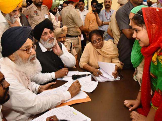 The chief minister listened to people's grievances during the programme at six villages and provided cheques to village panchayats for development projects.