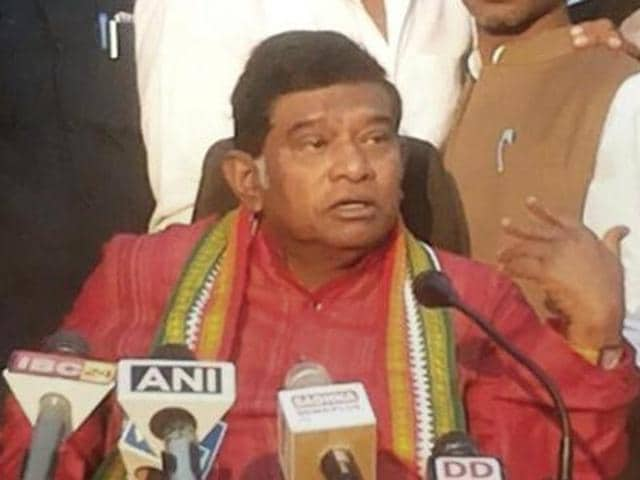 Former chief minister of Chhatisgarh Ajit Jogi addressing a press conference in Raipur on Sunday.